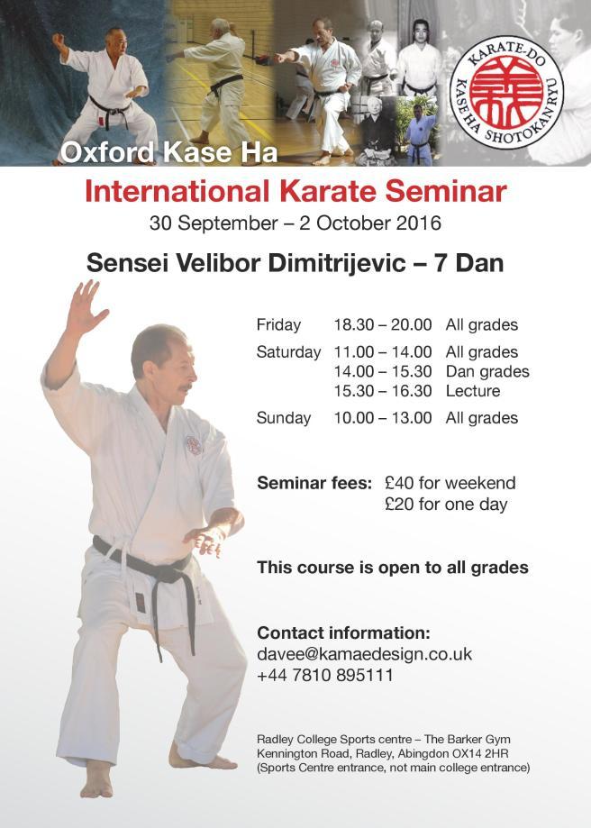 Sensei Velibor Dimitrijevic Oxford Course flyer September 2016